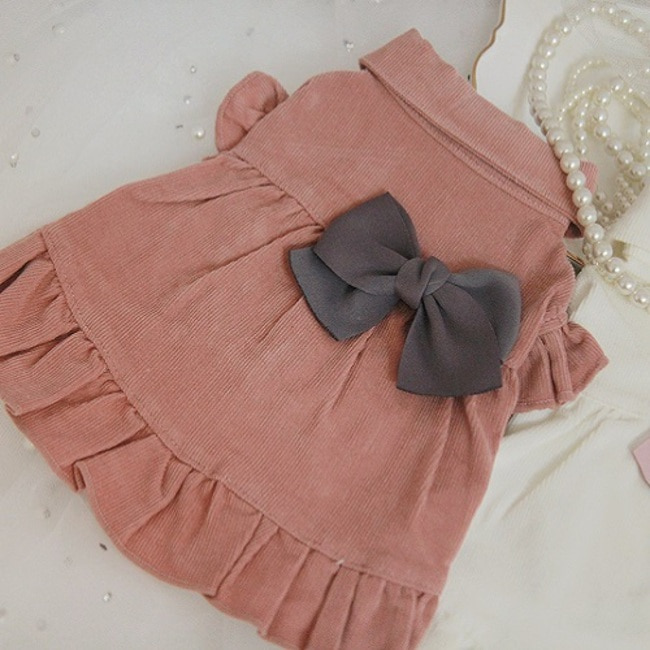 Corduroy frill one-piece/ PINK